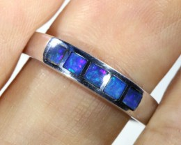 Cute Inlay Opal 18k White Gold Ring SB 839