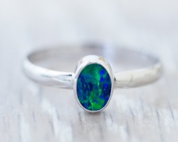 Cute doublet Opal 18k White Gold Ring SB 841