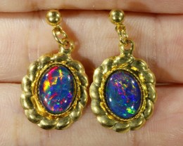 Beautiful Triplet Opal Earrings gold plated  Set  CF 1018