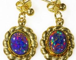 Beautiful Gem Triplet Opal Earrings gold plated  Set  CF 1019