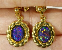 Beautiful Triplet Opal Earrings gold plated  Set  CF 1016