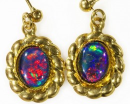 Beautiful Triplet Opal Earrings gold plated  Set  CF 1014