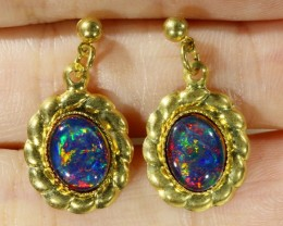Beautiful Triplet Opal Earrings gold plated  Set  CF 1012