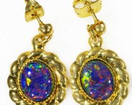 Beautiful Triplet Opal Earrings gold plated  Set  CF 1013