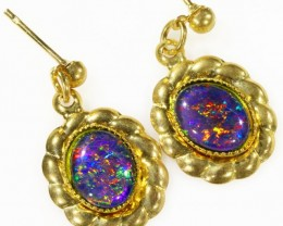 Beautiful Triplet Opal Earrings gold plated  Set  CF 1010