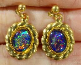 Beautiful Triplet Opal Earrings gold plated  Set  CF 1009
