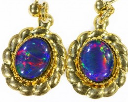 Beautiful Triplet Opal Earrings gold plated  Set  CF 1007