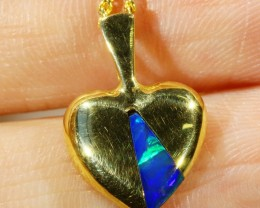 INLAY OPAL SET IN 16K YELLOW GOLD PENDANT TOP CF1027