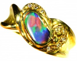 Cute Black Opal 18k Yellow Gold Ring SB 868