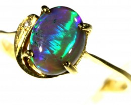 Cute Black Opal 18k Yellow Gold Ring SB 872