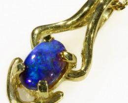 Black Opal set in 18k Gold Pendant  CF 1030