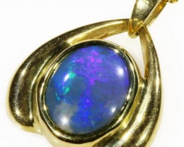 Black Opal set in 18k Gold Pendant  CF 1040