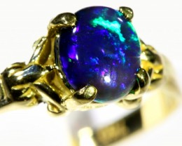 Electric Fire  Black Opal 18k Yellow Gold Ring size 7.5  SB 878