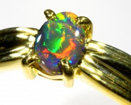 Cute Black Opal 18k Yellow Gold Ring SB 879