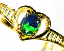 Cute Black Opal 18k Yellow Gold Ring SB 880