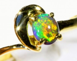 Cute Black Opal 18k Yellow Gold Ring SB 881