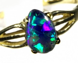 Cute Black Opal 18k Yellow Gold Ring SB 882