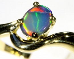 Cute Black Opal 18k Yellow Gold Ring SB 883