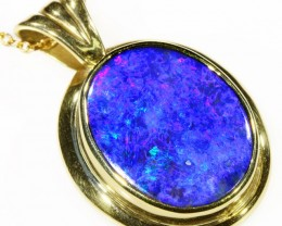 Black Opal set in 18k Gold Pendant  CF 1048