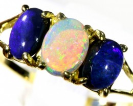 Amazing Cute Black and Crystal Opal 18k Yellow Gold Ring  size 7.5 SB 886
