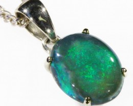 Black Opal set in 18k white  Gold Pendant  CF 1049