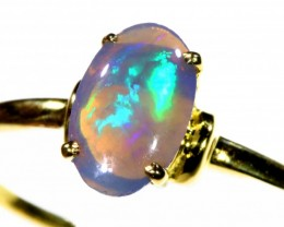 Cute Black Crystal Opal 18k Yellow Gold Ring SB 887