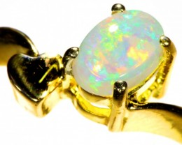 Cute Crystal Opal 18k Yellow Gold Ring SB 889