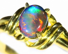 Cute Black Opal 18k Yellow Gold Ring SB 890