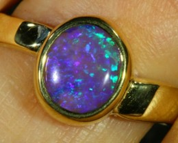 Cute Crystal Opal 18k Yellow Gold Ring SB 891
