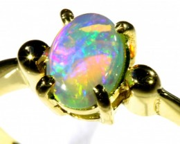 Cute Crystal Opal 18k Yellow Gold Ring size 7  SB 892