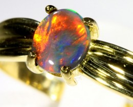 Cute Black Opal 18k Yellow Gold Ring SB 894