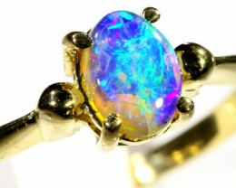 Cute Black Crystal Opal 18k Yellow Gold Ring SB 899