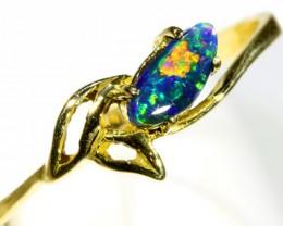 Cute Black Opal 18k Yellow Gold Ring SB 900