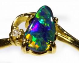 Gem Black Opal 18k Yellow Gold Ring Size 7  SB 902