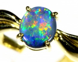 Cute Black Opal 18k Yellow Gold Ring SB 904