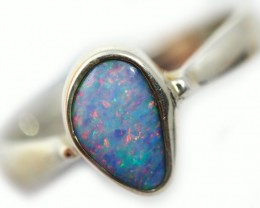 Red Fire Doublet opal Ring sterling silver  ring 7.5 QO2928