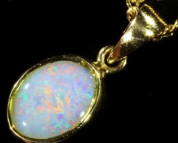 Fire Opal set in 18k  Gold Pendant  CF 1064