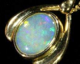 Fire Opal set in 18k  Gold Pendant  CF 1070