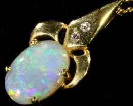 Fire Opal set in 18k  Gold Pendant  CF 1074