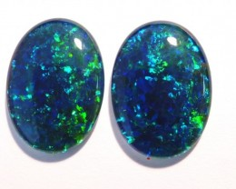 Beautiful pair of Australian Opal Triplets, gem grade, 18x13mm (#2623))