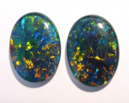 Beautiful pair of Australian Opal Triplets, 18 x 13 mm,, Gem Grade (#2624))