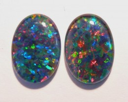 Pretty Pair of Australian Opal Triplets, 14x10mm, A Grade (#2654)