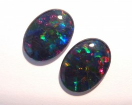 Pretty Pair of Australian Opal Triplets, 18x13mm, B+ Grade (#2642)