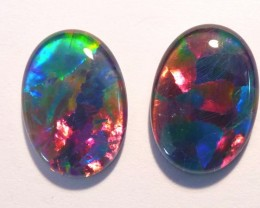 Bright pair of Australian Opal Triplets, A grade, 14x10mm (#2656)