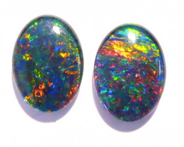 Bright pair of Australian Opal Triplets, A grade, 14x10mm (#2659)