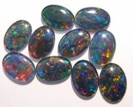Parcel of 10 Pretty A Grade Australian Opal Triplets, 14x10mm