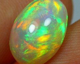Cyber Sales 3.20cts Strong Green And Multi Fire Ethiopian Opal