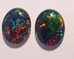 Bright pair of Australian Opal Triplets, gem grade, 10x8mm (#2677)