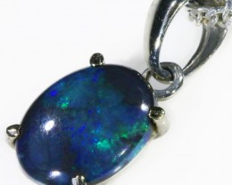 Black  Opal set in 18k white Gold Pendant  CF 1089