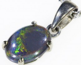 Black  Opal set in 18k white Gold Pendant  CF 1094
